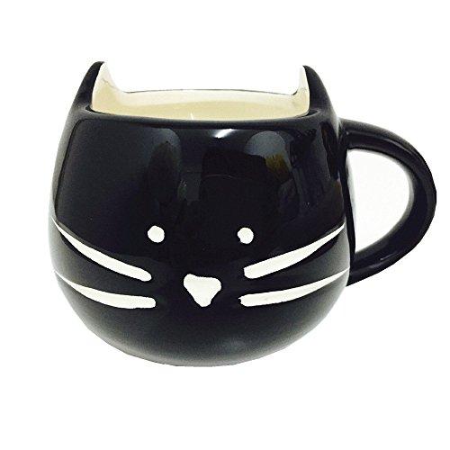 DOYOLLA Lovely Cute Little Black Cat Coffee Milk Ceramic Mug Cup (Black)