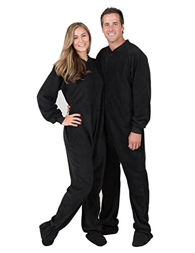 (Footed Pajamas - Midnite Black II Adult Fleece Onesie - Extra)