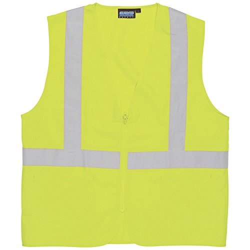 ERB 61710 S388Z Class 2 Zippered Solid Woven Safety Vest with Pockets, Lime, Medium by ERB (Image #1)