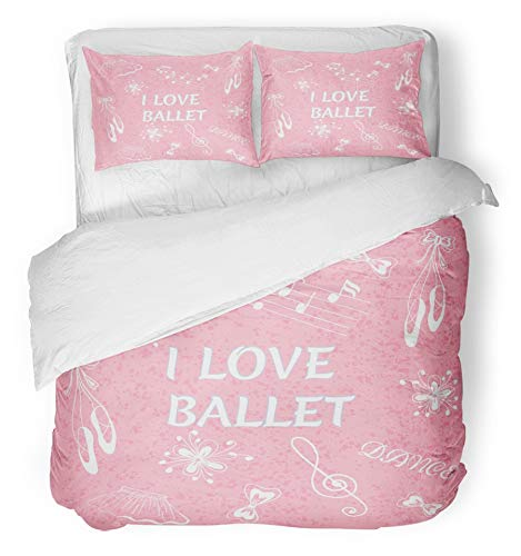 Emvency 3 Piece Duvet Cover Set Brushed Microfiber Fabric Breathable Ballerina Ballet Doodle I Love Beauty Bow Cartoon Cute Dance Flower Hair Bedding Set with 2 Pillow Covers Full/Queen Size
