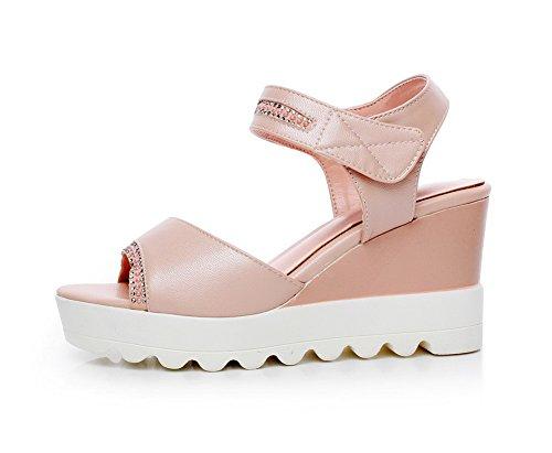 AgooLar Mujeres Sólido Pu Plataforma Puntera Abierta Velcro Sandalia Rosa