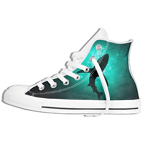 Classic High Top Sneakers Canvas Shoes Anti-Skid Shark Casual Walking For Men Women White 5AnK5H