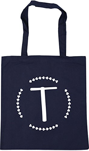 Gym x38cm French Initial T HippoWarehouse Tote Shopping Navy 10 Beach 42cm Bag litres PTI8Pqx