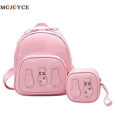 8650fb0988f1 Image Unavailable. Image not available for. Color  DingXiong 2 pcs Set Cute  Cat Women Backpacks PU Leather Girls Student School Fashion Travel