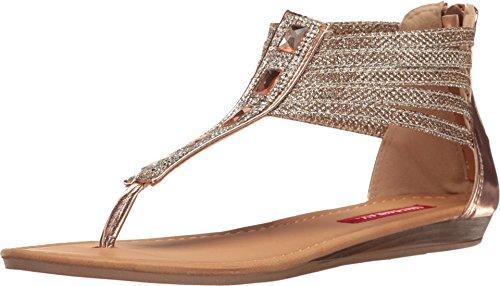 Unionbay Women's Loretta Metallic Glitter Rhinestone Strappy Flat Sandal (8.5 B(M) US, Rose Gold) (Gold Metallic Wedge Sandals)