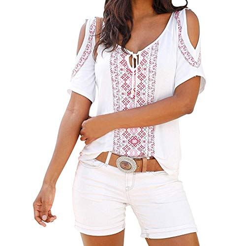 (Adeliber Women's Summer Print Short Sleeve Shirt Casual Top Shirt T-Shirt White)
