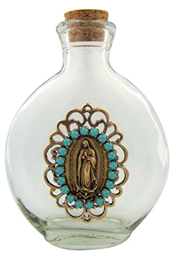 Our Lady of Guadalupe Vintage Icon on Glass Holy Water Bottle, 6 Ounce