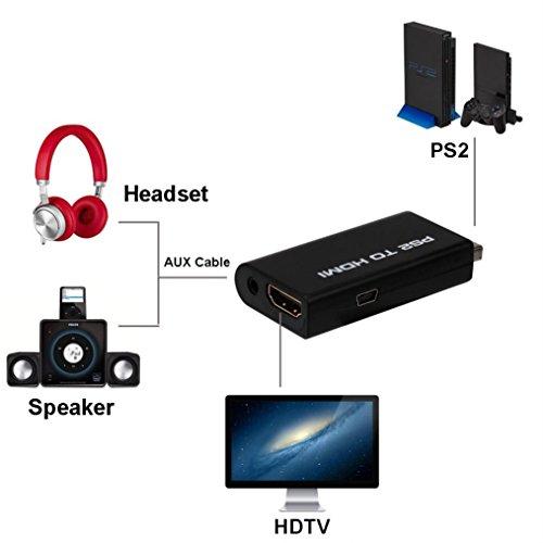 Mchoice PS2 To HDMI Audio Video AV Adapter Converter w/3.5mm Audio Output for HDTV (Av Format Manual Wall)