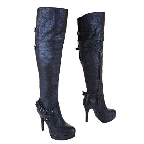 Ital-Design - botas clásicas Mujer azul oscuro