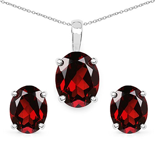 7.50 Carat Genuine Garnet .925 Sterling Silver Earrings and Pendant Set