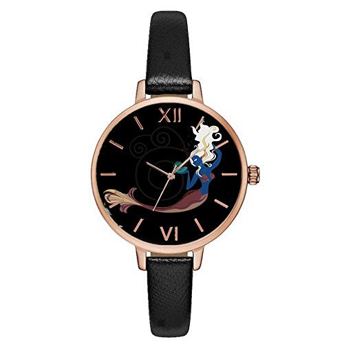 Dial Artificial Band Leather (Souarts Womens Black Artificial Leather Thin Band Mermaid Dial Quartz Analog Wrist Watch)