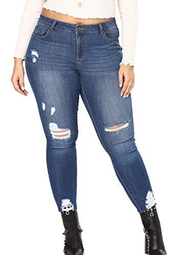 Donne Taglia Magre Jeans Yacun Strappati Blu Scurocolor Alta Le xpqtw