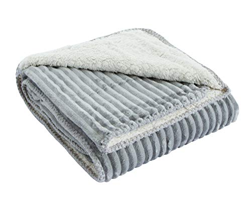(Fleece Sherpa Throw Blanket for Couch/Sofa/Bed - Soft, Plush, Cozy (40×60 Inches), Gray …)