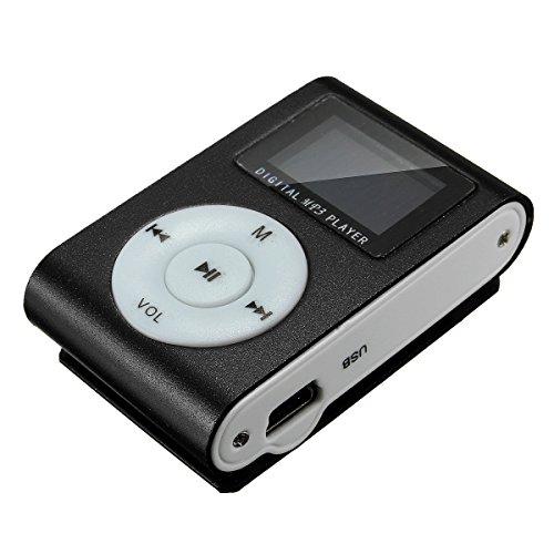 ELEGIANT Metal Clip Digital MP3 Player FM Radio LCD Screen for 2/4/8/16GB TF Card Black