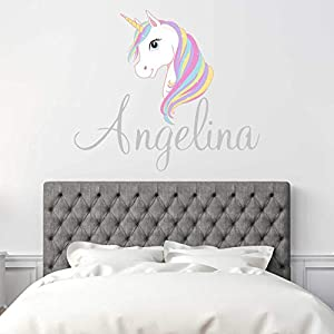 Custom Name Unicorn Nursery Wall Decal – Girls Personalized Name Unicorn Wall Sticker – Custom Name Sign – Custom Name Stencil Monogram – Girls Nursery Wall Decor