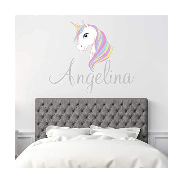 Custom Name Unicorn Nursery Wall Decal - Girls Personalized Name Unicorn Wall Sticker - Custom Name Sign - Custom Name… 3