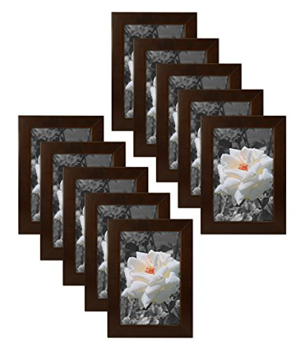 Golden State Art Set of 10, 4x6 Simple Wood Picture Frame - Table/Desk Top - Easel Stand - Back Hanger - Wall Display - Espresso Color - Real Glass 4x6 (10-Pack), Espresso ()