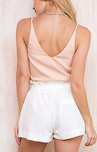 Donne Unita Moda Tinta Hot Vita Alta Bianca Pants Bende Shorts Casual Estivo Onlyoustyle Pantaloncini Pantaloni con a dX4qgd