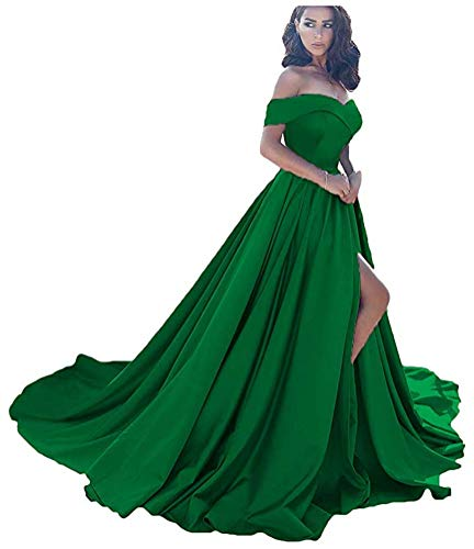 - Prom Dresses Long Split Off Shoulder Wedding Evening Dress A line Satin Formal Ball Gown Green-6 Size