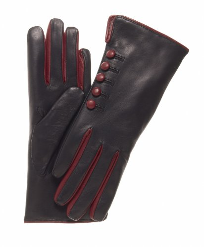 Fratelli Orsini Women's Italian Cashmere Lined Gloves with Buttons Size 7 Color Black/Red by Fratelli Orsini