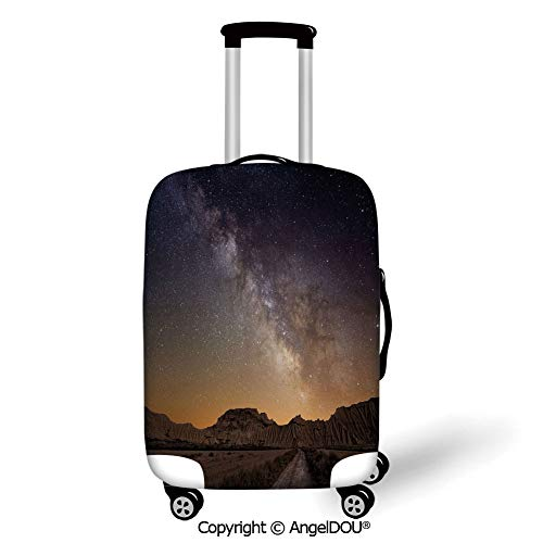 AngelDOU Fashion Elastic Fabric Luggage Protective Cover Night Milky Way over Desert of Bardenas Spain Ethereal View Hills Arid Country Decorative Plum Apricot Chocolate Suitable18-28 Inch Trolley ()