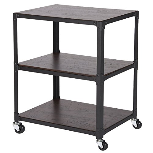 MaidMAX 3 Tiers Rolling Unit with Wooden Shelf, Storage Organizer Utility Cart Printer Stand with 4 Wheels for Bedroom Living Room and Office, 2 Lockable by MaidMAX