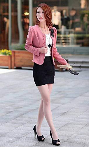 Camicia Collo Donna Schwarz Lunga Outwear Chic Rotondo Tailleur Elegante Autunno Cappotto Double Puro Di Manica Giacca Moda Breasted Fit Giovane Colore Corto Slim Da Bouquet R4wqg4dr