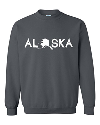 Ugo What to do in Alaska? Map AK Last Frontier Flag Home of University of Unisex Crewneck - Outlet Vegas Shops In Las