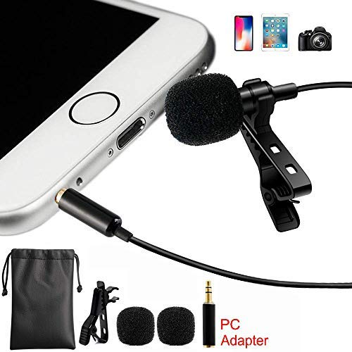 2019 Upgrade Lavalier Lapel Microphone Professional Grade Clip-on Omnidirectional Condenser Mic for iPhone X 8 7 Plus 6 6s 5 5s / iOS/Android | Mini Lavalier Mic with Clip