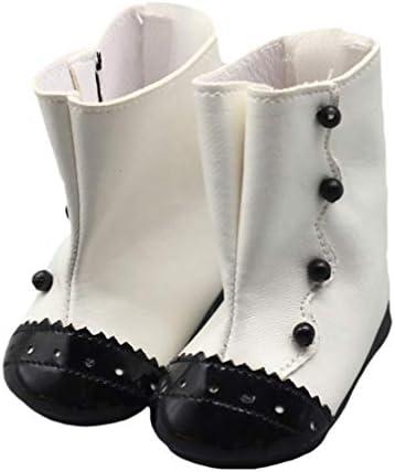 Toyvian アメリカの女の子のための18の人形のブーツのための人形の靴人形のアクセサリーDIYアクセサリーミニシーンの装飾品(白)