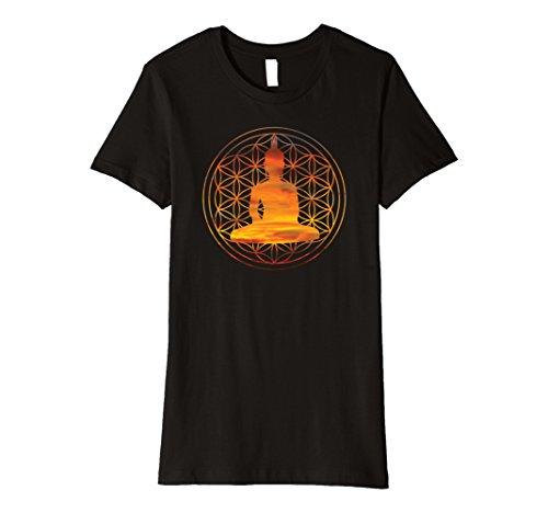 [Womens Zen Buddha Flower of Life t-shirt Medium Black] (Buddha Fitted T-shirt)