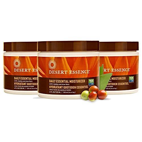Desert Essence Daily Essential Facial Moisturizer - 4 Fl Oz - Pack of 3 - Jojoba Oil - Aloe Vera - Prevents Acne - Soft Radiant Skin - Geranium Essential Oil for Natural Fragrance - For Normal Skin