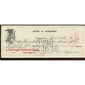 1918 John Honus Wagner Signed Check PSA LOA MLB Cut Signatures