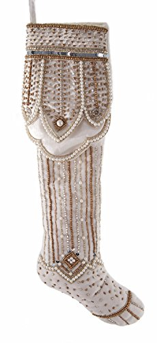 Elegant White and Gold Regal Beaded Christmas Holiday Stocking - Katherines Collection Christmas Stocking