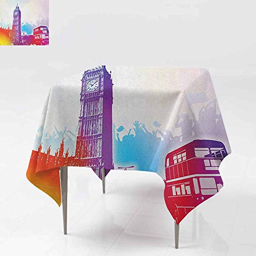 AndyTours Spillproof Tablecloth,London,Historical Big Ben and Bus Great Bell Clock Tower UK Europe Street Landmark,for Events Party Restaurant Dining Table Cover,50x50 Inch Purple Red Yellow ()