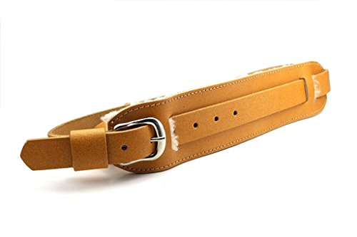 LeatherGraft Tan Brown Genuine Leather Vintage Buckle Front Sheepskin Back Shoulder Pad Guitar Strap - For all Electric, Acoustic, Classical and Bass Guitars