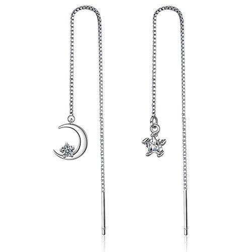 Triple Ring Earrings - 925 Sterling Silver Plated AAA CZ irregular Moon and star Women Ear Line Threader Dangle Earrings