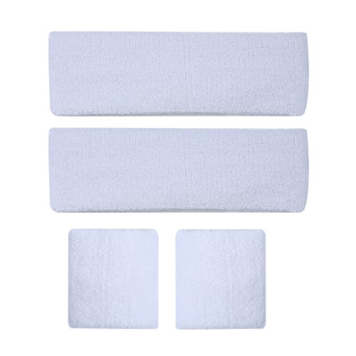 Sport Sweat Bands Sets (2 Head Bands + 2 Wrist Bands) Moisture Wicking Head Wrist Sweatbands for or Running Basketball Cycling Soccer Volleyball Tennis (White)