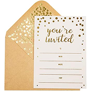 50 Pack Invitation Card Elegant Greeting Cards With You Are Invited Embossed In Gold Foil Letters For Wedding Bridal Shower Birthday