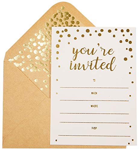 50 Pack Invitation Card - Elegant Greeting Cards with ''You are Invited'' Embossed in Gold Foil Letters - for Wedding, Bridal Shower, Birthday Invitations - 50 Kraft Envelopes Included - 4