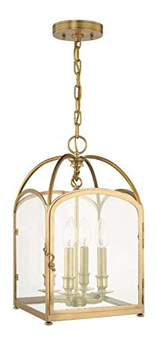 Aged Brass Four Light Pendant from the Oxford Collection