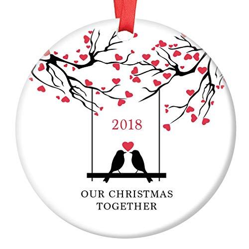 Our Christmas Together 2018 Ornament Love Birds Ceramic Keepsake Gift Idea Loving Couple Winter Holiday Pair Boyfriend Girlfriend Husband Wife 3