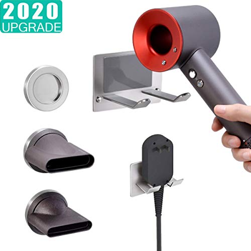 XIGOO Wall Mounted Holder for Dyson Supersonic Hair Dryer, Self Adhesive Wall Hanging Power Plug, Diffuser and Nozzles Organizer
