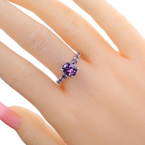 YAZILIND Wedding Bridal Rhinestone Purple Engagement Ring for Women