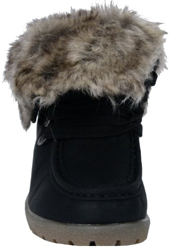 Keilabsatz Wedges Damen Stiefeletten warm gefüttert Schneestiefel Winterstiefel Schnee Winter Boots Schneeboots Schwarz
