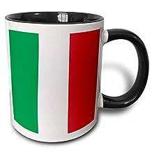 3dRose mug_158341_4 Flag of Italy square Italian green white red vertical stripes European Europe World travel souvenir Two Tone Black Mug, 11 oz, Black/White