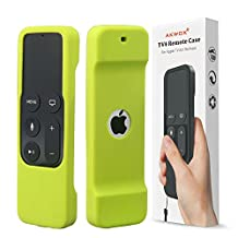 Akwox Light Weight [Anti Slip] Shock Proof Silicone Cover for New Apple Tv 4th Generation Siri Remote Controller (Green)