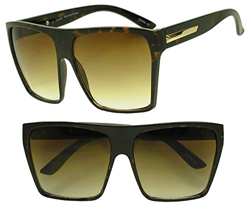 XL Oversized Square Trapezoid Flat Top Trendy Large Sunglasses (Tortoise Shell, Brown)