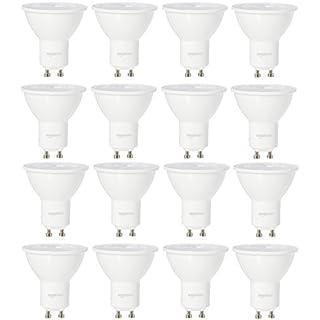 AmazonBasics 50 Watt Equivalent, Daylight, Dimmable, 15,000 Hour Lifetime, GU10 LED Light Bulb   16-Pack