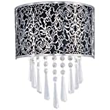 Maxim Lighting 22297BKSN Rapture 2-Light Wall Sconce, Satin Nickel Finish with Black Fabric Shade and Crystals by Maxim Lighting